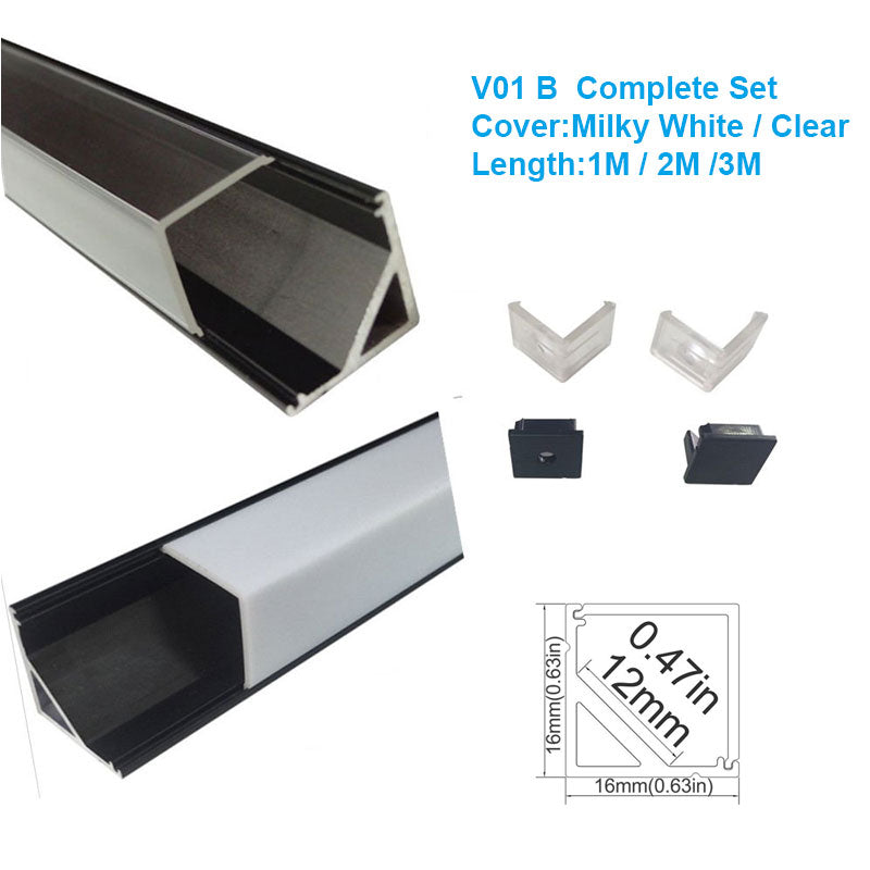 5/10/25/50 Pack Black V01 16x16mm V-Shape Vertical Angle Cover Internal Width 12mm Corner Mounting LED Aluminum Channel with End Caps and Mounting Clips Aluminum Extrusion