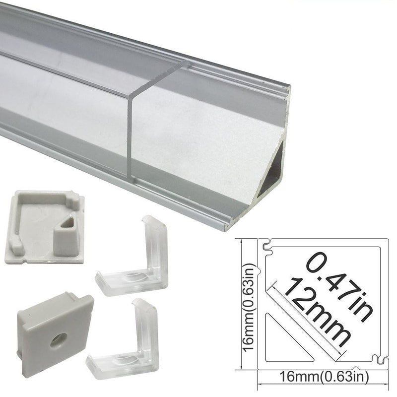 5/10/25/50 Pack Silver V01 16x16mm V-Shape Vertical Angle Cover Internal Width 12mm Corner Mounting LED Aluminum Channel with End Caps and Mounting Clips Aluminum Extrusion