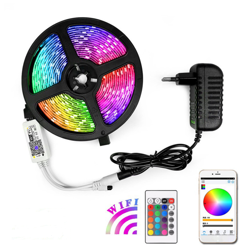 16.4FT/5Mtr 150LEDs RGB LED Strip Light Kit SMD5050 30LEDs/Mtr, WiFI Wireless, Smart APP controlled