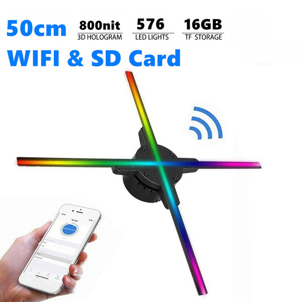 Free Shipping 50cm 3D Hologram LED Fan with 576pcs LEDs 800nits WiFi App Control