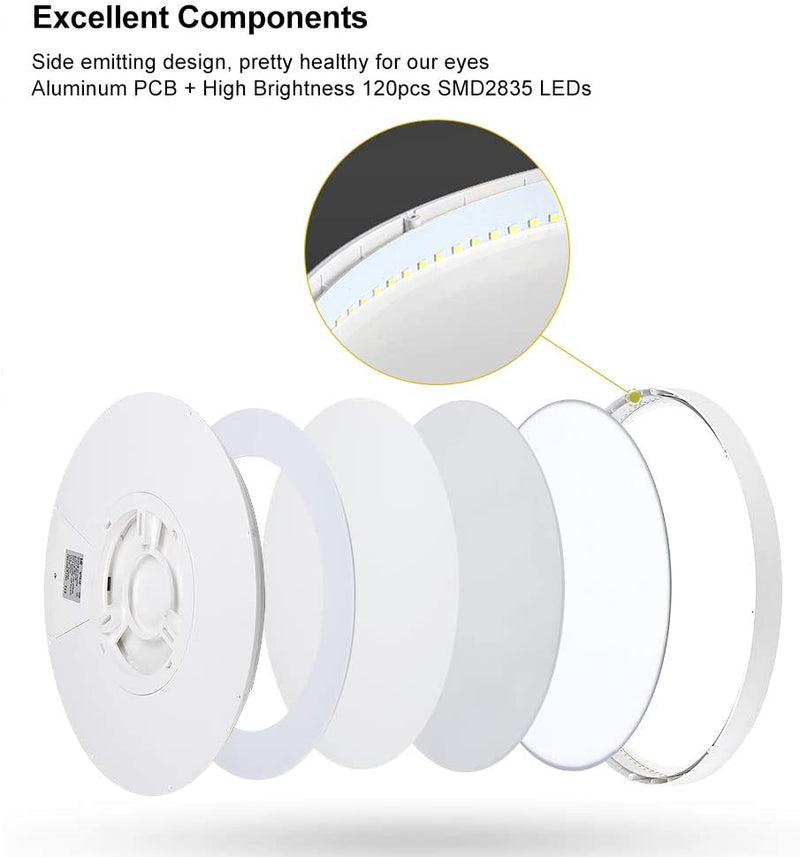 Free Shipping 2 Pack 12 Inch Modern LED Ceiling Light Flush Mount 24W Kitchen Bedroom Bathroom Lamp