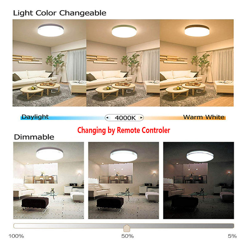 24W 14.96 inch (380mm) LED Ceiling Light Fixture CCT changable & Dimmable with RF controller Round Acrylic Shade White Finish Modern LED Flush Mount