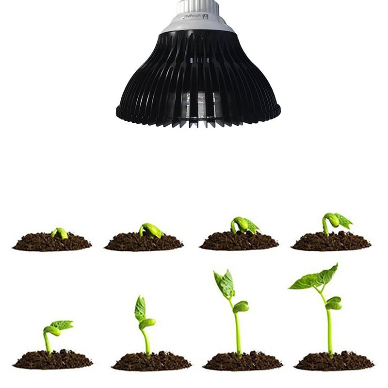 12W LED Growing Lamp E27 Base 4 Bands Plant Growing Bulb for Plant Works Best with Seeds through Flowering, Indoor Garden Greenhouse, Hydroponics and Aquatic Systems