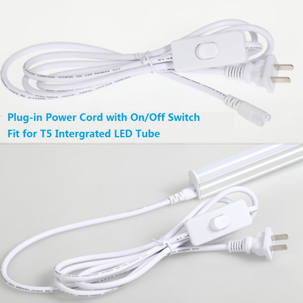 Plug-in Power Plug Cord 6Feet with On/Off Switch On Fit for T5 Integrated LED Tube Light
