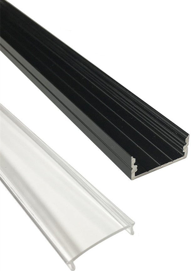 5/10/25/50 Pack Black U04 10x23mm U-Shape Internal Width 20mm LED Aluminum Channel System with Cover, End Caps and Mounting Clips Aluminum Extrusion for LED Strip Light Installations