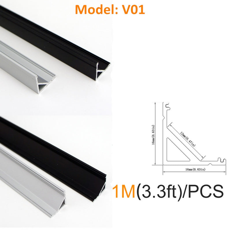 Seperate Aluminum Housing Only for U-Shape and V-Shape LED Aluminum Profile, Fit for U01, U02, U03, U04, U05, U06, V01, V02, V03