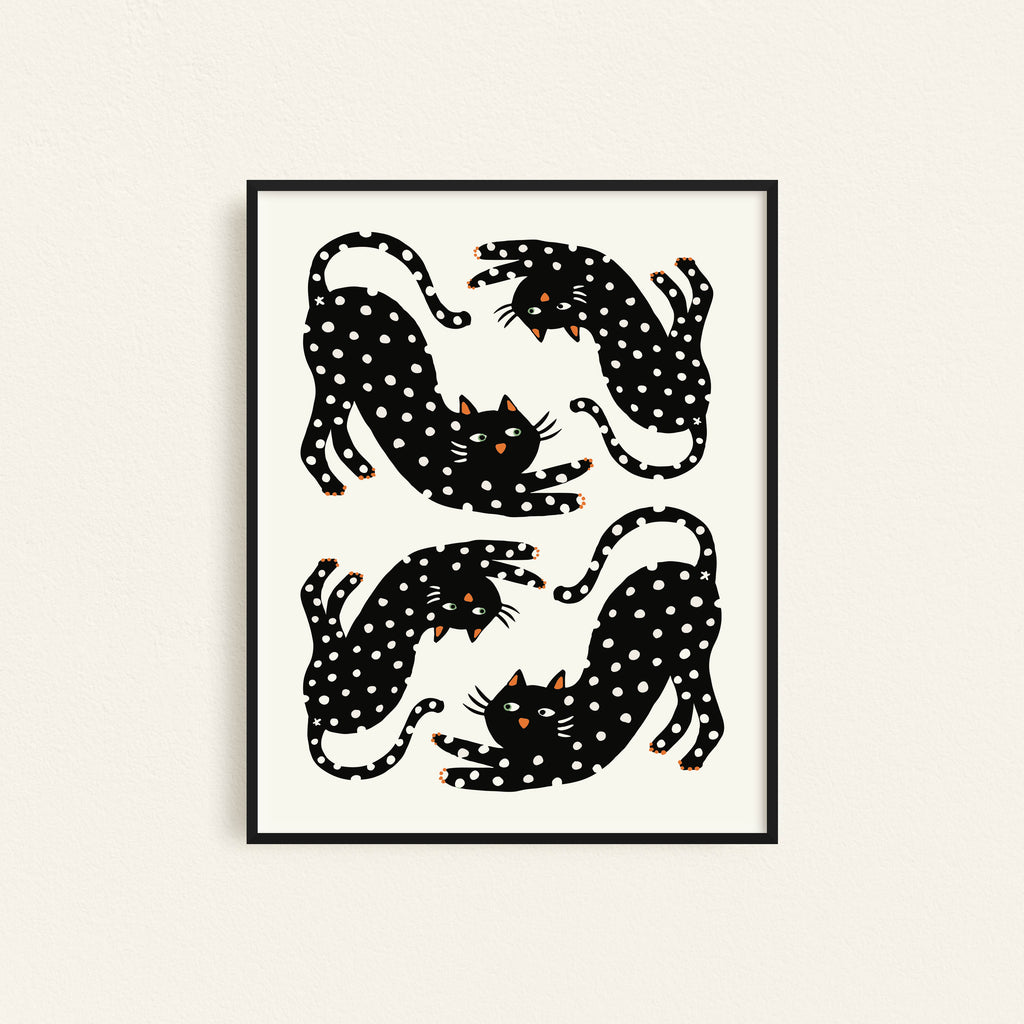 Playful Black Cat with dots Illustration by Freckled Fuchsia