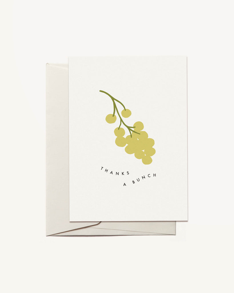 Thanks a Bunch Green Grapes Greeting Card by Freckled Fuchsia
