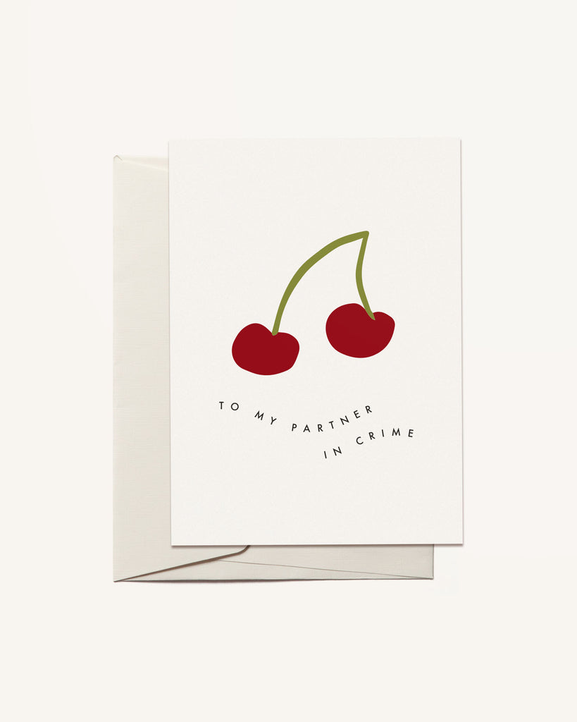 Black Cherry Illustration Greeting Card by Freckled Fuchsia