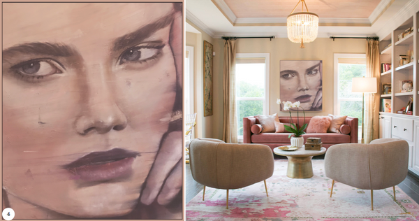 contemporary artwork for interior pink large painting canvas