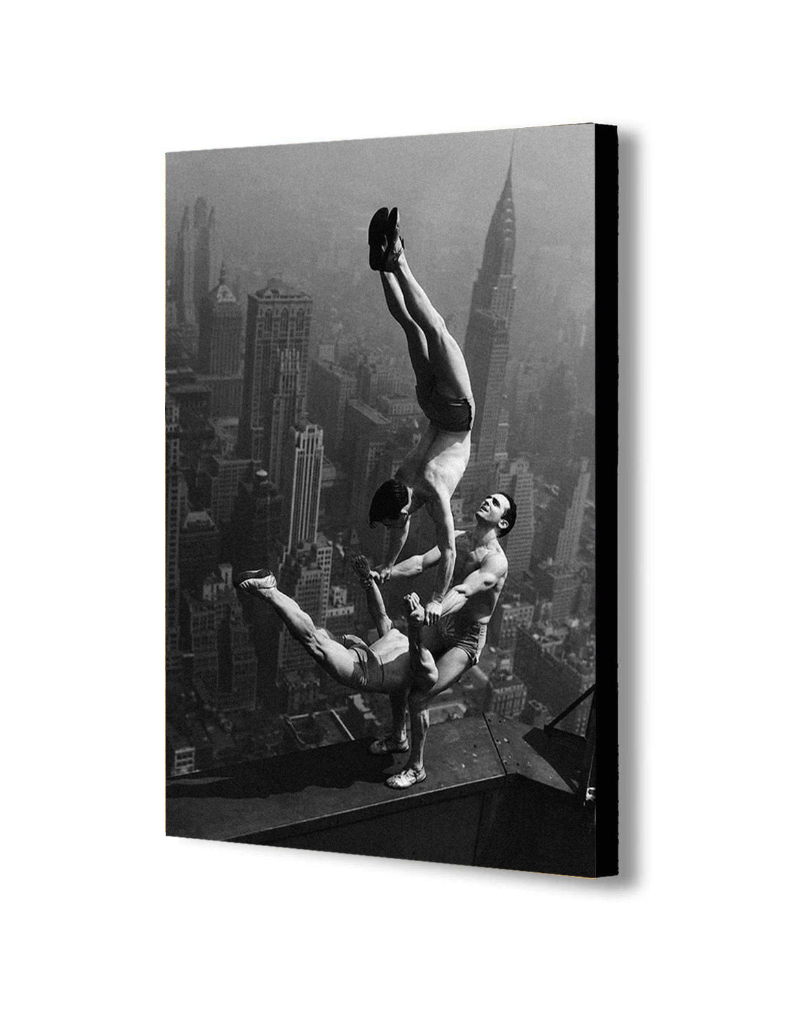 Acrobats - Empire State Building - Canvas Wall Art Framed Print - Various Sizes