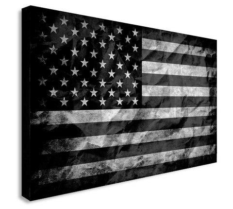 American Flag - Black And White - Canvas Wall Art Framed Print - Various Sizes