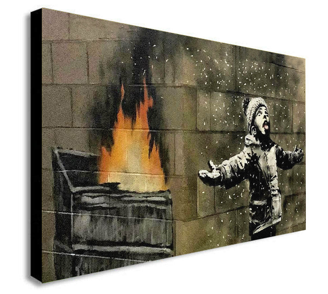 Banksy - Snow - Graffiti Canvas Wall Art Print - Various Sizes