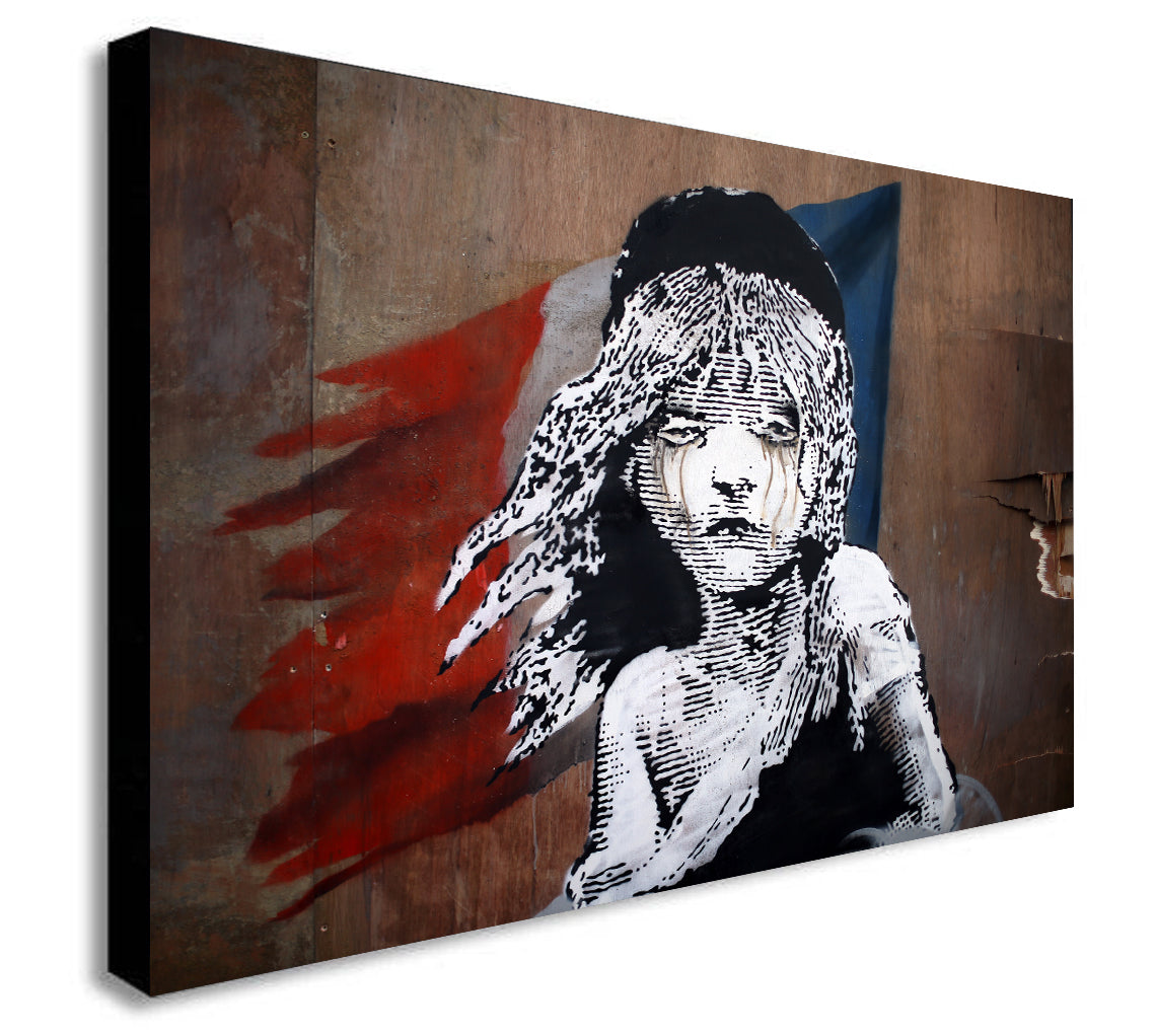 Banksy Canvas - Les Miserables Paris - Wall Art Framed Print - Various Sizes