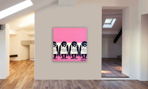 Banksy Canvas Wall Art Framed Print Graffiti - Laugh Now - Various Sizes