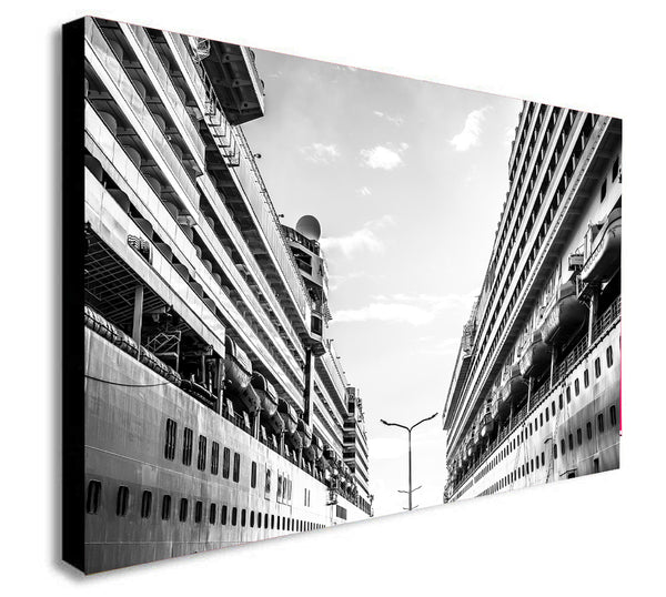 Cruise Ships -  Abstract - Black and White - Modern Canvas Wall Art Framed Print - Various Sizes