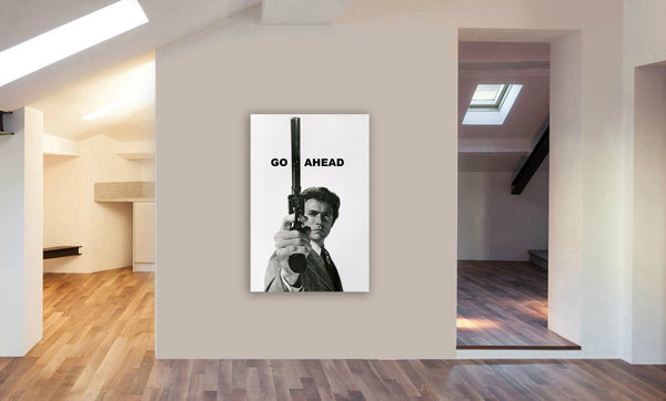 Clint Eastwood As Dirty Harry - Canvas Wall Art Framed Print - Various Sizes