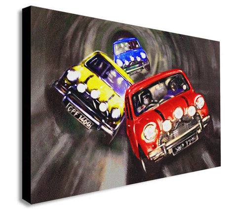 The Italian Job - Mini Cooper - Canvas Wall Art Framed Print - Various Sizes