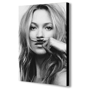 Kate Moss Moustache - Canvas Wall Art Framed Print - Various Sizes
