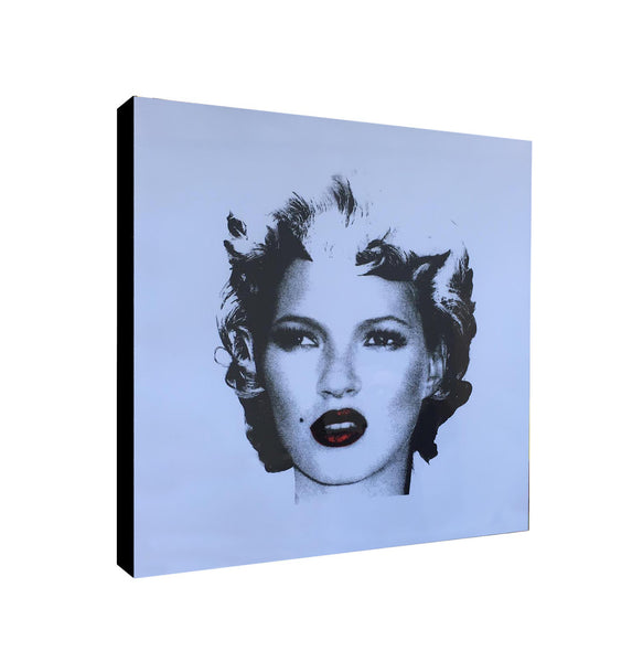 Kate Moss Red Lips - Banksy Graffiti - Canvas Wall Art Framed Print - Various Sizes