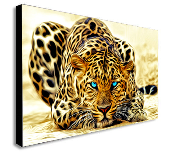 Blue Eyed Leopard - Abstract - Canvas Wall Art Framed Print - Various Sizes
