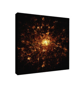 London At Night From Above - Canvas Wall Art Framed Print - Various Sizes