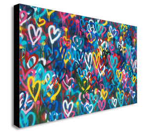 Love Hearts Graffiti - Canvas Wall Art Framed Print - Various Sizes