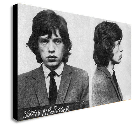 Mick Jagger Police Mugshot - The Rolling Stones - Canvas Framed Wall Art Print - Various Sizes