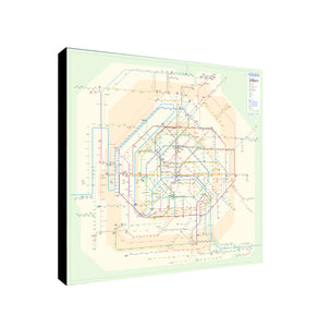 Paris Underground Metro Map - Canvas Wall Art Framed Print - Various Sizes