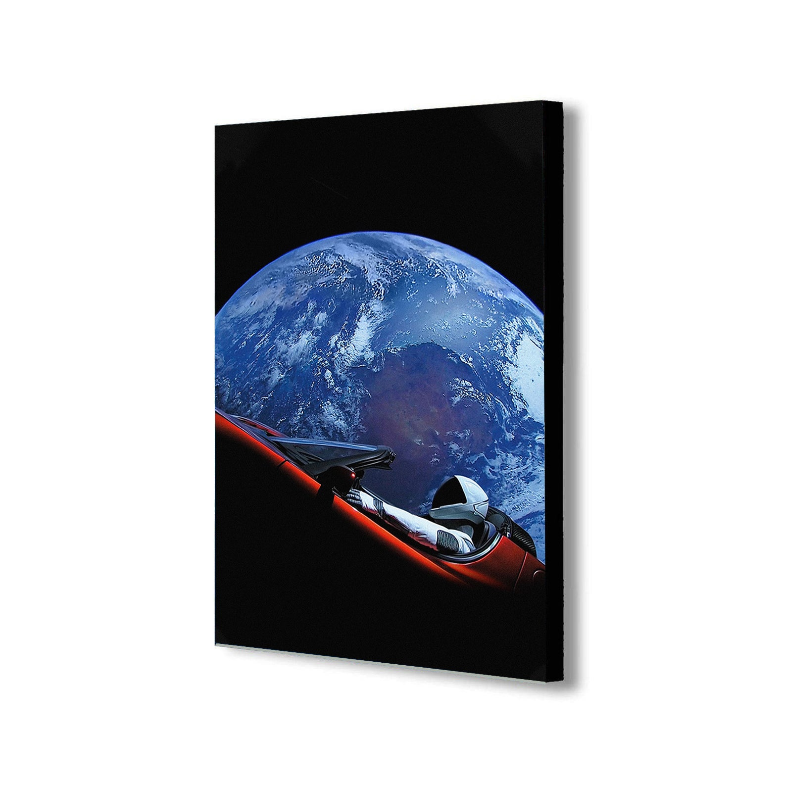 SpaceX Starman - Tesla Roadster - Canvas Wall Art Framed Print - Various Sizes