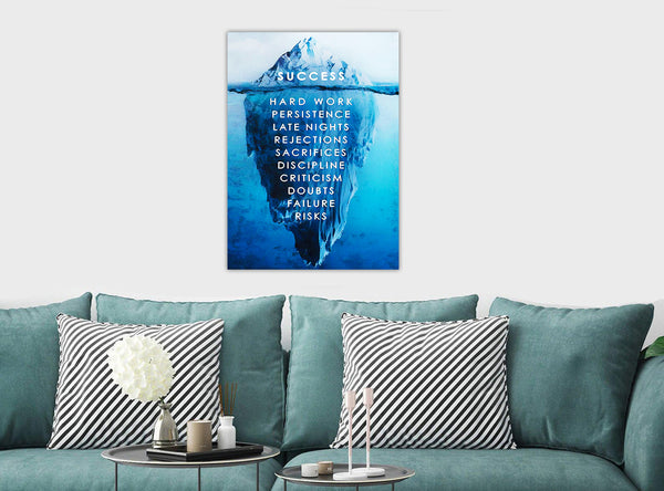 Success - Motivational - Canvas Wall Art Framed Print - Various Sizes