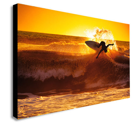 Surfer Sunset Big Wave Surf - Canvas Wall Art Framed Print. Various Sizes