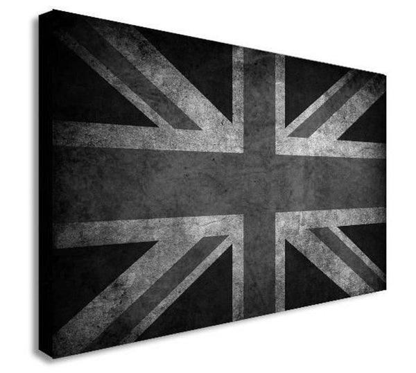 Union Jack - Black And White - Canvas Wall Art Framed Print - Various Sizes