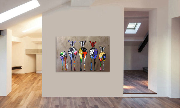 Zebra Abstract Colourful - Canvas Wall Art Framed Print - Various Sizes