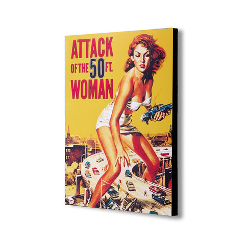 Attack Of The 50ft Woman Movie Cover - Canvas Wall Art Framed Print - Various Sizes