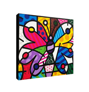 Butterfly Multicoloured  - Pop Art - Framed Canvas Wall Art Print - Various Sizes