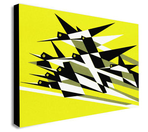 Bird Flight - Yellow - Kauffer - Canvas Wall Art Framed Print - Various Sizes