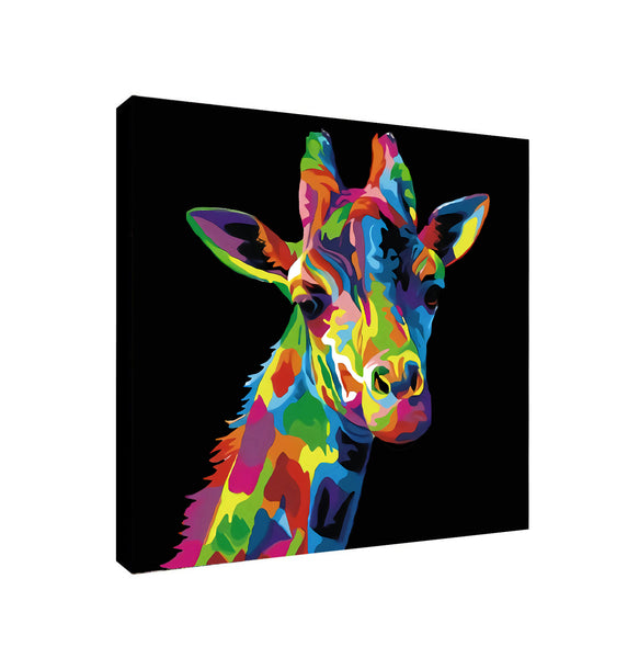 Giraffe Pop Art Multicolour - Canvas Framed Wall Art Print - Various Sizes