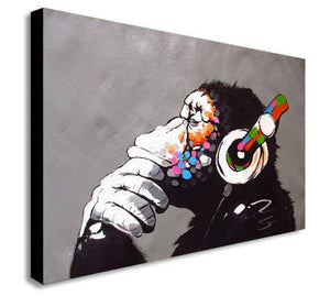 Banksy DJ Monkey Gorilla Chimp - Canvas Wall Art Framed Print- Various Sizes