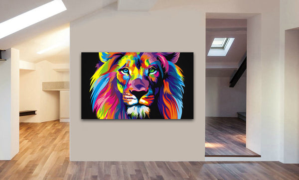 Lion Abstract Pop Art Canvas Wall Art Framed Print - Various Sizes