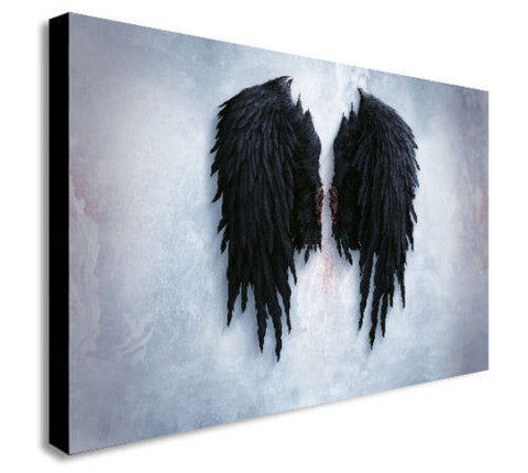 Banksy Black Angel Wings Canvas Wall Art Print - Various Sizes