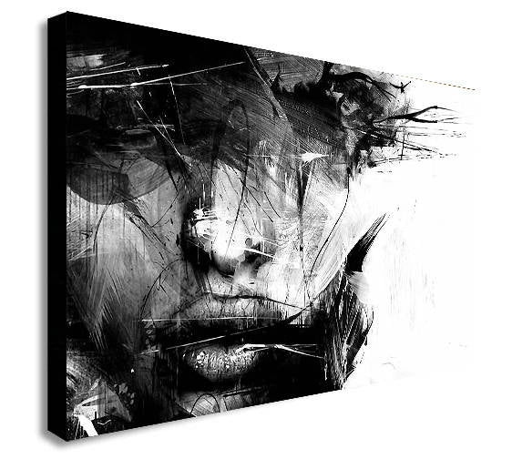 Abstract Black and White Female Face Canvas Wall Art Framed Print - Various Sizes