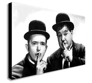 Laurel And Hardy Shush Canvas Wall Art Print - Various Sizes