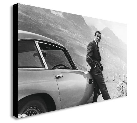 James Bond Sean Connery Aston Martin Canvas Wall Art Framed Print - Various Sizes