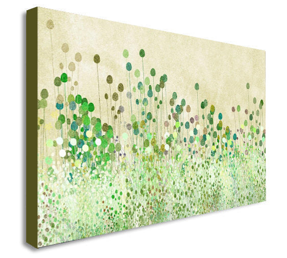 Green Poppy Buds Abstract Canvas Wall Art Print - Various Sizes