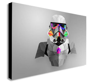 Storm Trooper Abstract Star Wars Canvas Wall Art Framed Print - Various Sizes