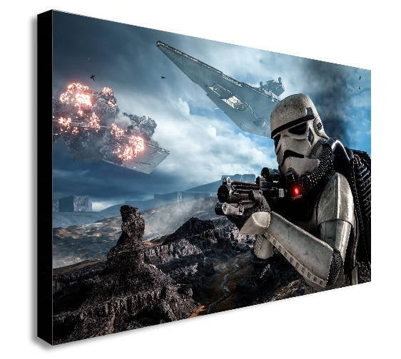 Storm Trooper Battle Star Wars Canvas Wall Art Framed Print - Various Sizes