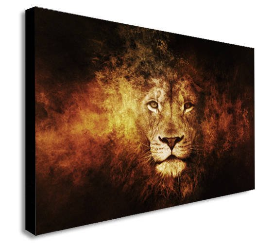 Lion Abstract Head Shot Canvas Wall Art Print - Various Sizes