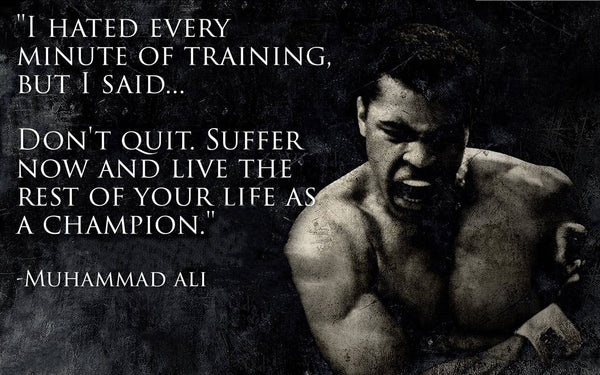 Muhammad Ali Don't Quit Quote - Canvas Wall Art Print - Various Sizes