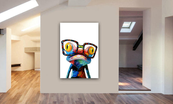 Frog Abstract Canvas Wall Art Framed Print - Various Sizes